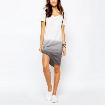 Fashion Women Short Sleeve Tunic Cotton Tops Casual Loose T-shirt Tee Asym Dress White - Intl - intl