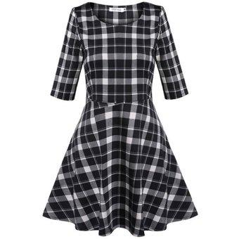 Cyber Meaneor Casual O-Neck Half Sleeve Plaid Print High Waist A-Line Mini Dress (Black) - Intl - Intl