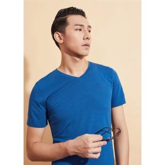 Áo phông cổ tim xanh biển