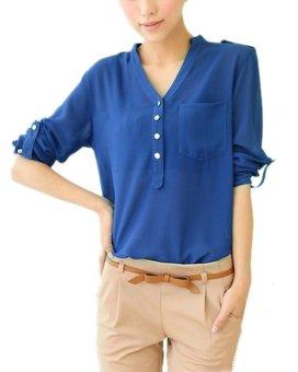 ZANZEA Womens Chiffon Casual Loose Lady Long Sleeve Shirts - Intl