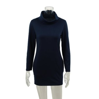 Europe Fashion Women Dress Turtleneck Side Pocket Long Sleeve Solid Mini Dress Dark Blue/Grey/Red - Intl