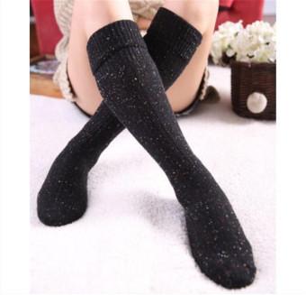 Women Turn Up Rib Dot Wool Blend Long Knee High Winter Warm Boot Socks Stocking Black - Intl