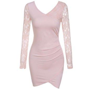 Sunweb Zeagoo Women V Neck Sexy Lace Patchwork Dress ( Pink ) - intl