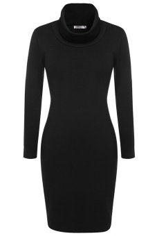 Cyber ANGVNS Women Casual Slim Cowl Neck Long Sleeve Knit Bodycon Dress ( Black ) - Intl