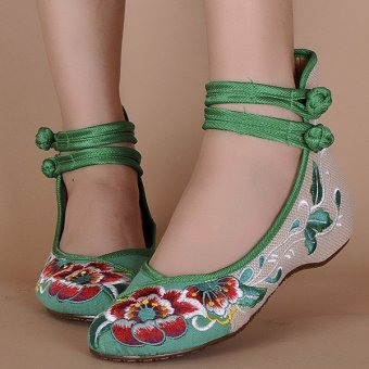 Big Size Women Mary Janes Chinese Embroidered Flower Flat Shoes Linen Loafers Green - intl