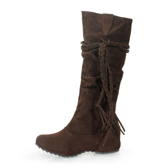 Fashion Womens Lady Mid Calf Suede Tassels Winter Warm Boots Flat Shoes Brown - Intl - Intl