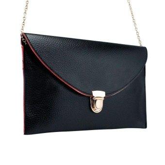 niceEshop Fashion Women Leather Handbag Shoulder Chain Bags Envelope Clutch Crossbody Satchel Purse ,Black - intl