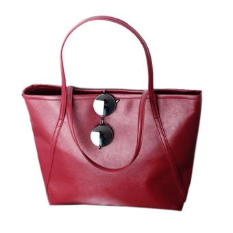 New Simple Winter Larger Capacity Leather Women Bag Messenger Red Free shipping - intl