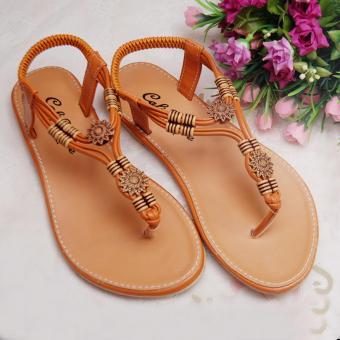 Giày xăng đan quai họa tiết GD52 (Nâu)