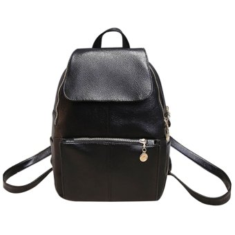 niceEshop Fashion England Style Casual PU Leather Backpack Shoulders Bag for Girls, Black - intl