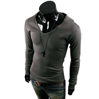 Men Casual Slim hooded Hoodies (Dark Gray) - intl
