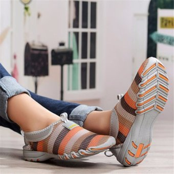 Women Shoes Summer Mesh Breathable Soft Casual Slip On Low Top Fashion Sport Shoes Gray - intl