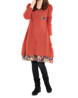 New Women Fashion Floral Hem Loose Casual Round Neck Long Sleeve Cotton Dress Red - Intl