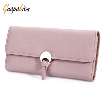 Guapabien Stylish PU Leather Snap Fastener Simple Card Holder Clutch Wallet For Women(Pink) - intl