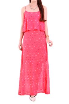 Đầm maxi 2 lớp xếp tầng Cirino (hồng đậm)