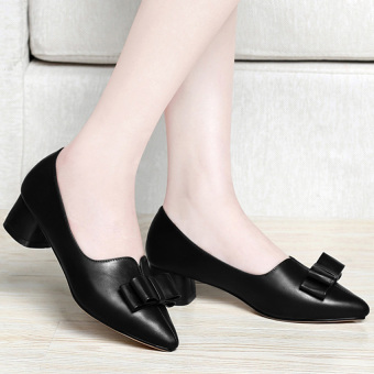 Giày gót vuông nơ G98GX (Đen)