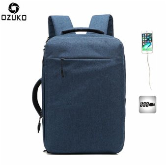 OZUKO Multi-functional Men Backpack Waterproof USB Charge Computer Backpacks 15Inch Laptop Bag Creative Student School Bags (Blue) - intl