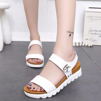 Giày sandal quai ngang bản to lót đế nâu phong cách Hàn Quốc (Trắng) 232W