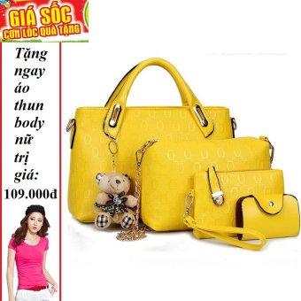 Bộ 4 túi họa tiết cao cấp ( Vàng) + Tặng 1 áo thun body nữ