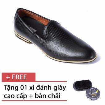 Giày da nam công sở thiết kế trẻ trung SMARTMEN GL-555 Đen, tặng kèm bàn chải đánh giày và xi đánh giày