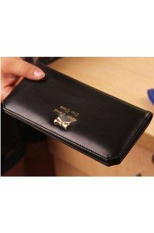 Bow Clutch Card Holder Money Clip Bag Purse (Black)