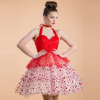 Sunweb Women Vintage Style Sexy Halter Sleeveless High Waist Polka Dot Evening Party A-Line Short Buble Dress ( Red ) - intl
