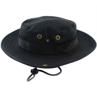 2 in 1 Unisex Adults Wide Brim Fishing Climbing Sun Bucket Hat Cowboy Hat Cap with Adjustable Chin Cord Black