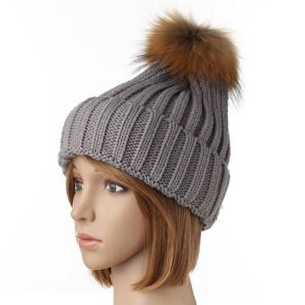 New Winter Women Fur ball Knitting Baggy Beanie Beret Ski Baggy Cap 1 - Intl