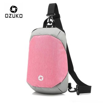 OZUKO Unisex Chest Pack Messenger Bag Creative Anti-theft Bag Oxford Shoulder Bag Casual Fashion Crossbody Bags (Pink) - intl
