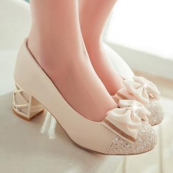 Giày đế vuông đính nơ xinh G1009 (Kem)