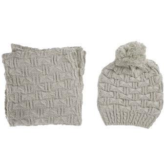 2 PCS Women Knitted Acrylic Woven Yarn Winter Warm Hat Cap + Scarf Set Christmas New Year Costume Gift Gray - intl