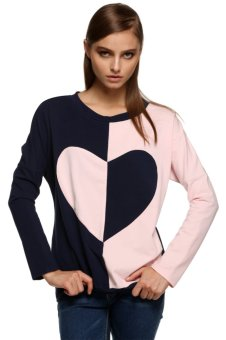 Sunweb FINEJO Women Splicing Contrast Color Long Sleeve Hoodie Loose Casual Sport Pullover Top (Navy Blue) - intl