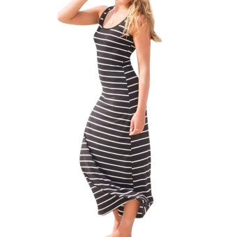 Cotton Striped Dress Black - intl