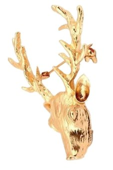 Vintage Metal Reindeer Lapel Brooch Pin (Gold)