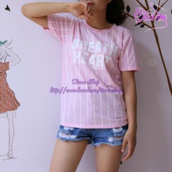 Áo Thun Nữ Tay Ngắn In Hình Breath Heart Sọc Dọc Phong Cách Tiano Fashion LV365 ( Màu Hồng )
