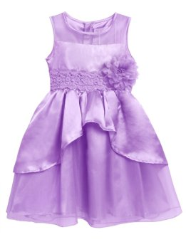 Cyber New Kids Girl O-Neck Sleeveless Flower Party Wedding Tulle Ruffle Dress ( Purple ) - intl