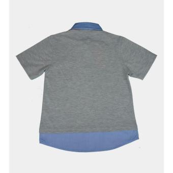 Áo thun polo trẻ em Antix màu xám cổ xanh