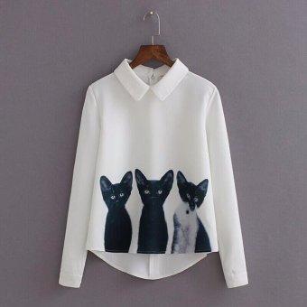 Women Loose Chiffon Three Cats Tops Long Sleeve Casual Blouse Shirt - intl
