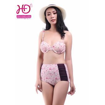 Bikini cạp cao hoa đào màu hồng 17018