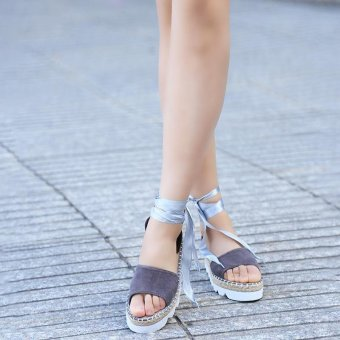 LALANG Women Trifle Heel Bandage Thick Bottom Platform Sandals (Grey) - intl