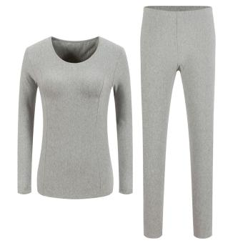 Sunwonder Ekouaer Women Fashion Casual Solid Warm Thermal Underwear Top Pants Long Pajamas Set (Grey) - intl