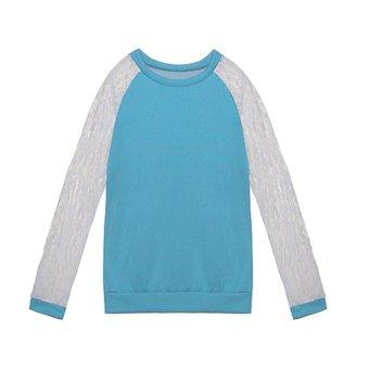 NEW Womens Ladies Lace Splice Long Sleeve Tops T-shirt Blouse Sky blue - Intl