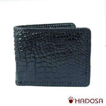 Vi nam da cá sấu da hông đan viền màu đen cao cấp Hadosa