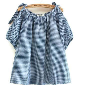 Áo blouse ngắn nữ sọc caro xanh tay lở LTTA25