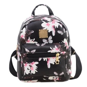 Women Backpack Fashion Causal Floral Printing Leather Bag - intl