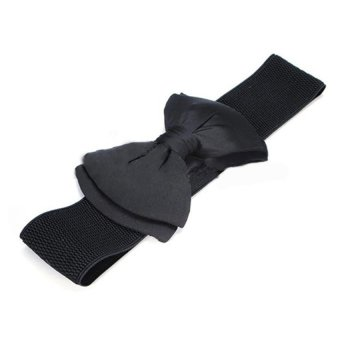 Bluelans Wide Stretch Buckle Bowknot Waistband Elastic Bow Belt (Black) (Intl)