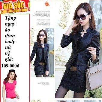 Áo vest da nữ cao cấp (Đen) + Tặng 1 áo thun body nữ