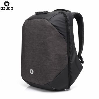 OZUKO External USB Charging Backpacks Anti-theft 15.6Inch Laptop Bags Casual Three-dimensional Password Lock Travel Bags (Dark Grey) - intl