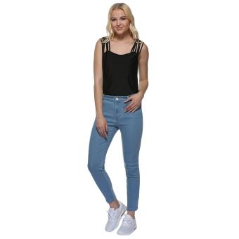 Women Polyester Mid Waist Skinny Denim Pants (Light Blue) - intl