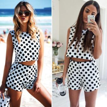 Women Casual Dots Crop Tops Vest Shirt Shorts 2-Piece Suit - intl